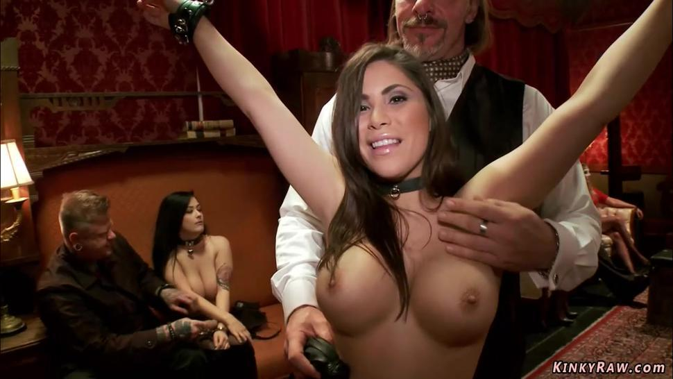 New slave fucked at orgy party