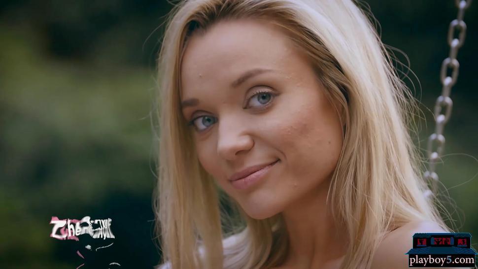 Amazing ass Russian blonde Zhenya Belaya strips outdoor in the woods