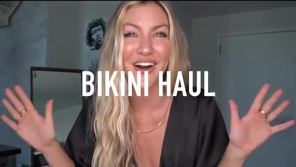 Beautiful horny blonde try bikini haul