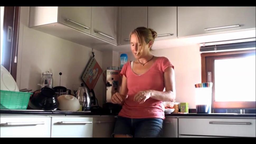 Delicious Hairy Blonde Mature Masturbating In Kitchen