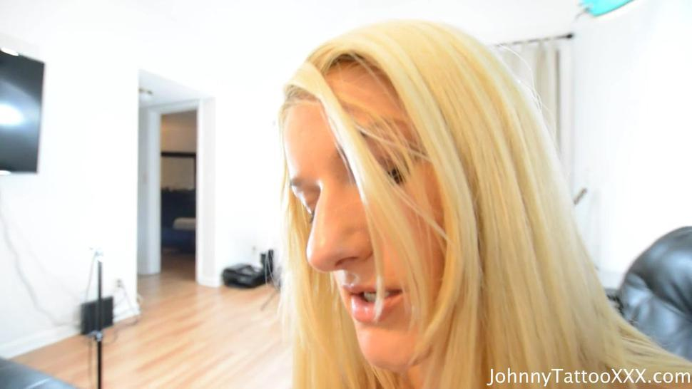 Blonde Girl With Small Boobs Blows Cock