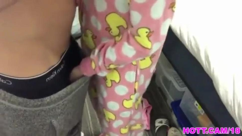 Asian girl in pajamas wants your dick