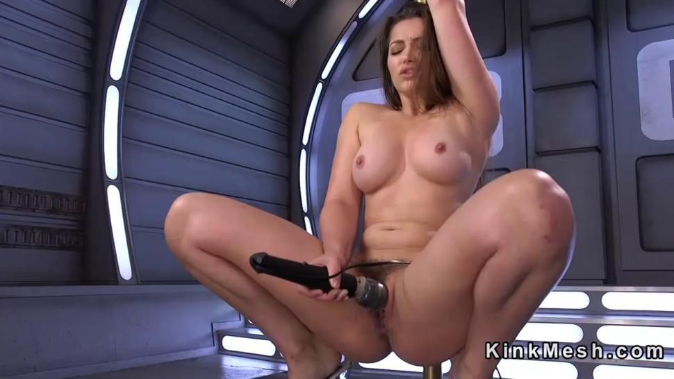 Hairy twat brunette fucks machine - video 1
