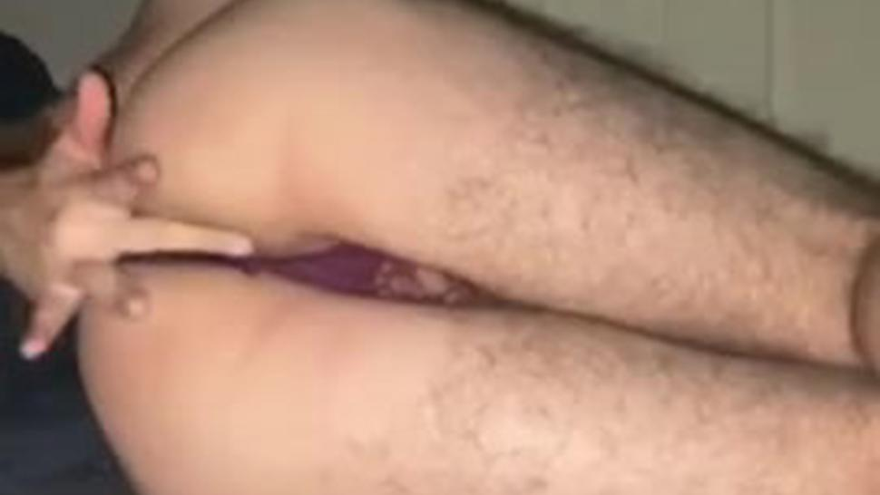 Faggot In Thong Fingering His Pussy For You