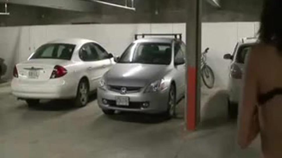 Wild Crazy Couple Fucking In Public Garage