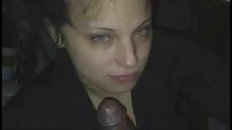 Drunk brunette chick blowing a BBC