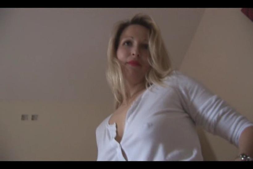 Blonde Milf in mini skirt removes panties