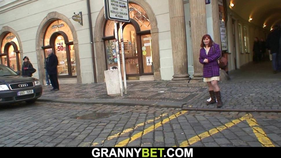 GRANNYBET - He picks up old mature in stockings for play