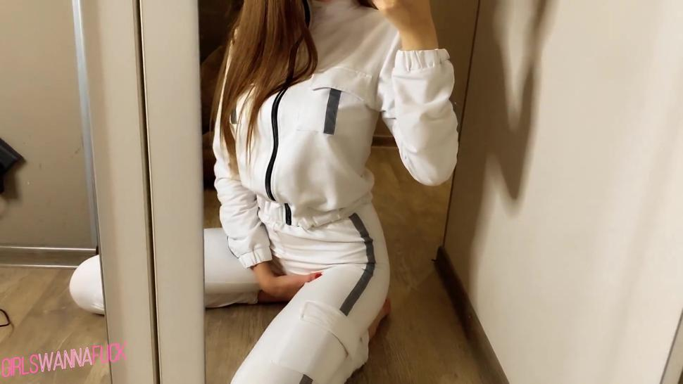Athletic girl takes a masturbation on camera in front of the mirror