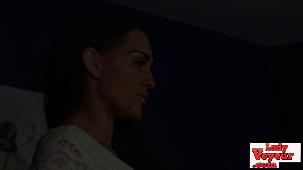 LADY VOYEURS - Stunning voyeur babe dominates cock