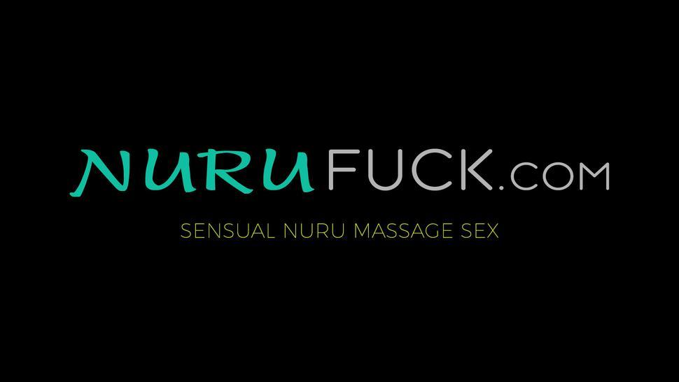 NURU FUCK - Lily Glee gives blowjob during massage after hot shower