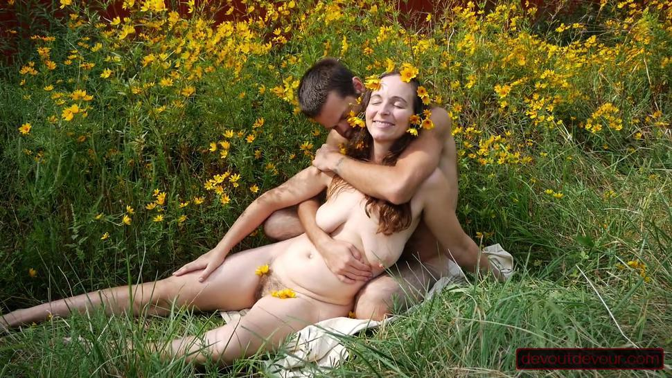 Wildflowers and Squirt: MILF Gets Hairy Pussy Rubbed Good and Squirts Massively Outdoors