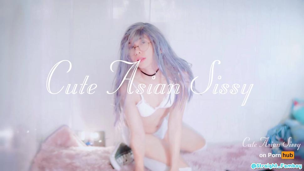 Cute Asian Sissy Masturbate & Moan in Converse