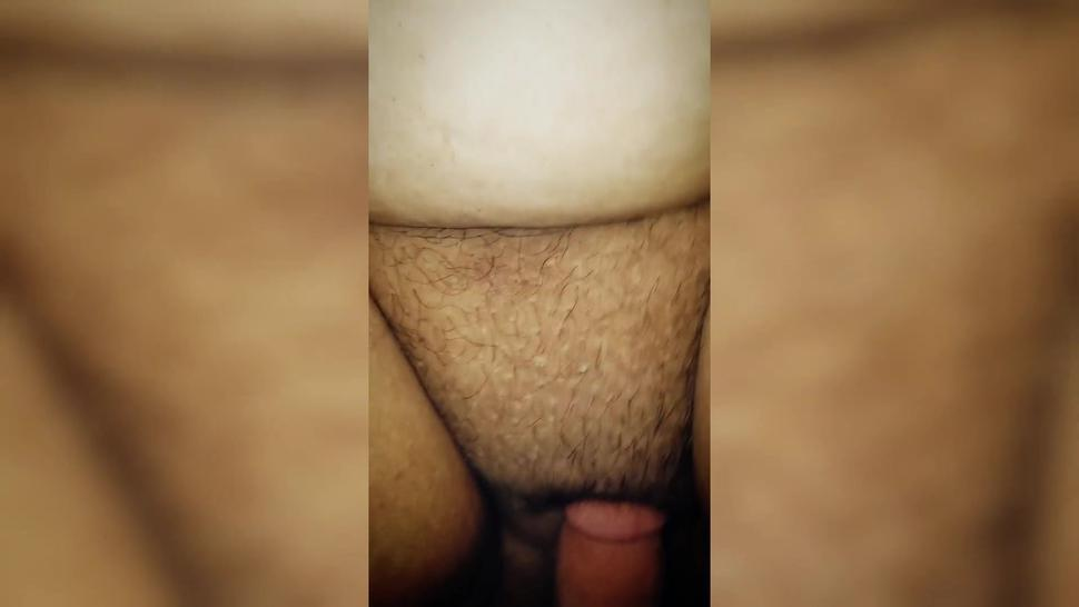 Hairy Latina BBW moans daddy while called slut, hard fucking chubby pussy and verbal degrading her