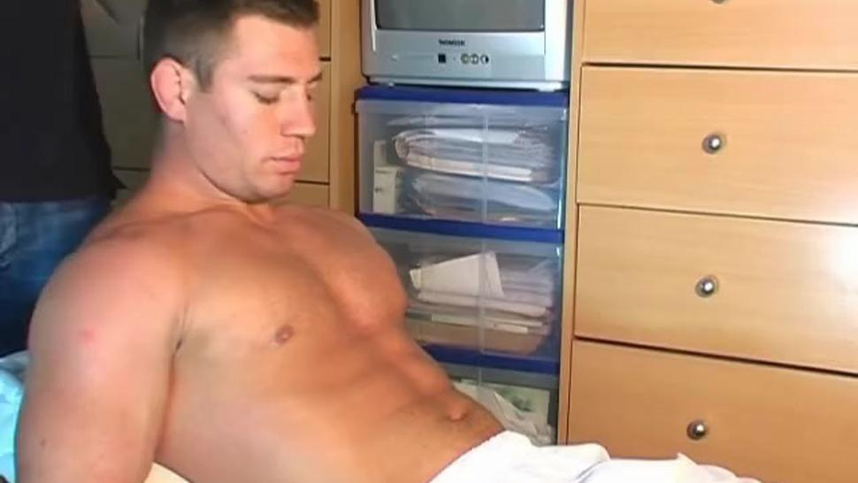 Big cock of athletic male gets wanked by us. Rick