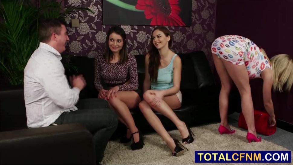 Three horny babes attack hard cock blowbang