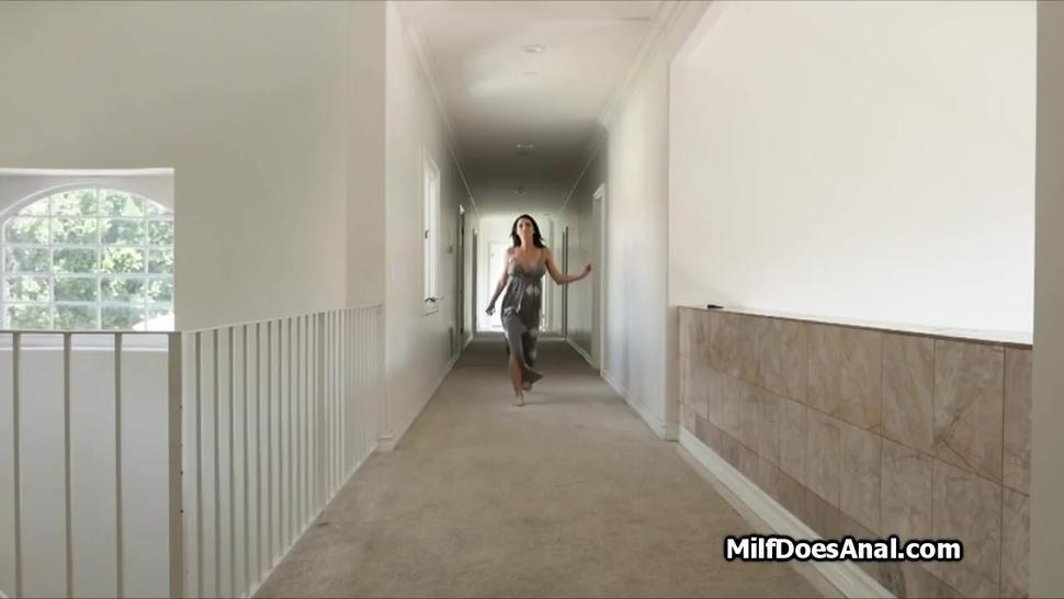 Busty MILF enjoys big cock anal in bathroom