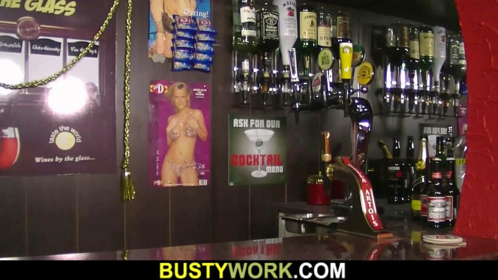 BUSTY WORK - Fat ass working woman rides his dick