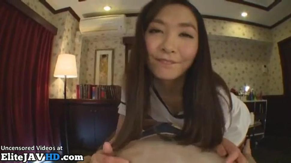 Oriental sexy girl gives pov footjob