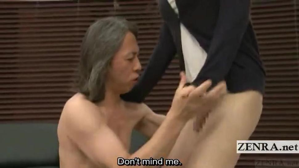 Subtitled bottomless Japanese newhalf teacher blowjob