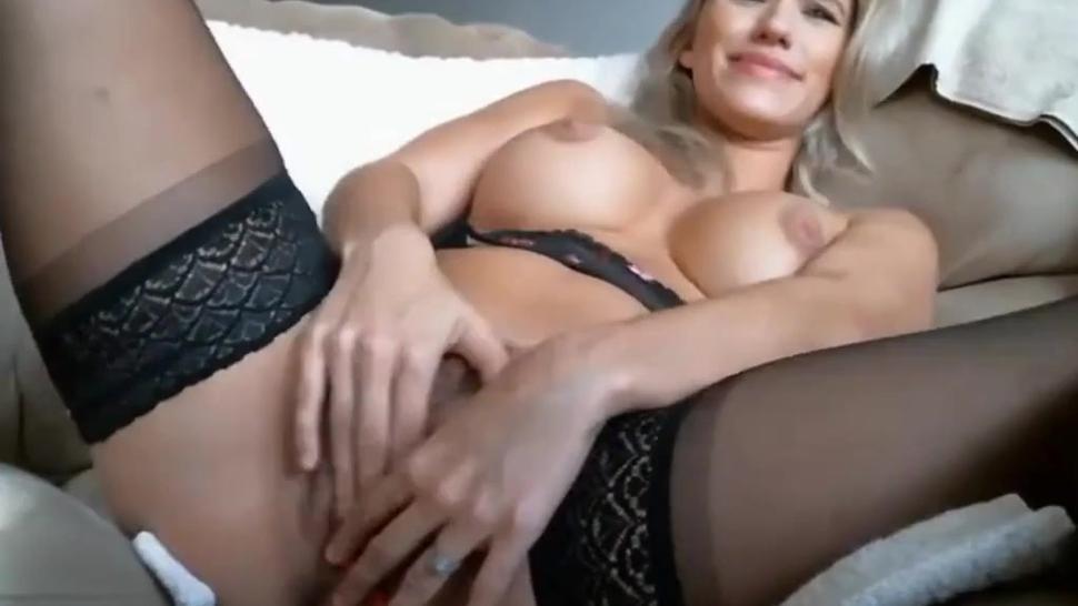 Hot Blonde MILF In Stockings Using Vibrator