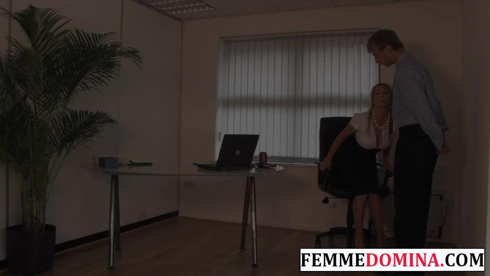 FEMME FATALE FILMS - Working mistress spanks BDSM sub at the office