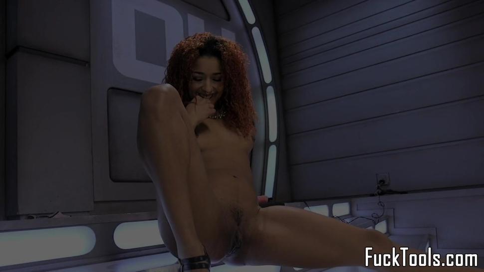 Inked Ebony Girl Rubs Pussy Before Toying