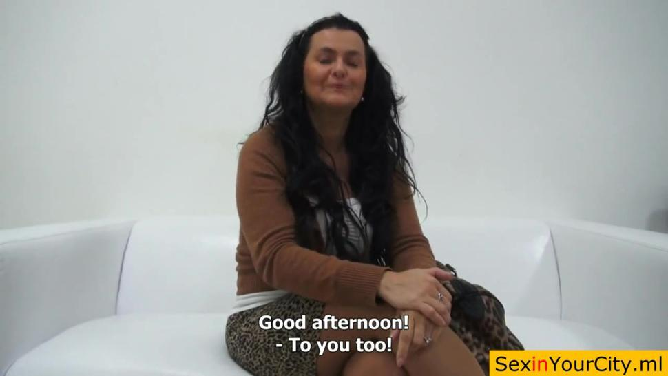 Busty Czech woman oils and touches herself at casting