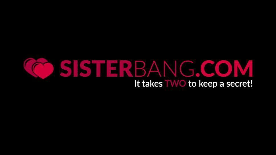 SISTER BANG - Natural tits stepsister Dana Wolf swallows thick cock POV
