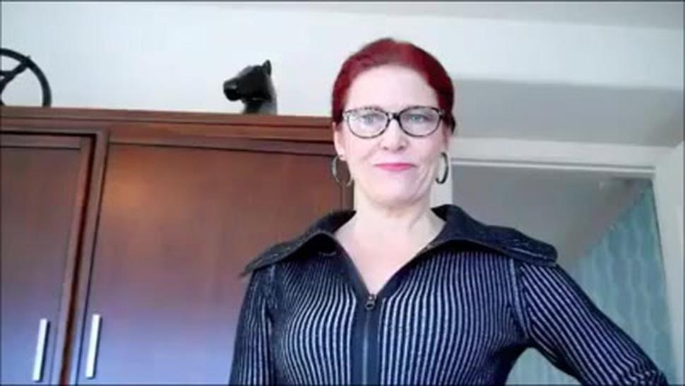 Very hot mature mom introducing a young slave into tease and denial