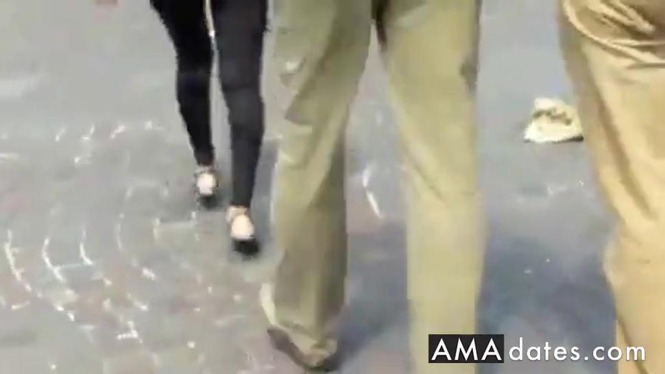 See through leggings thong walking the streets