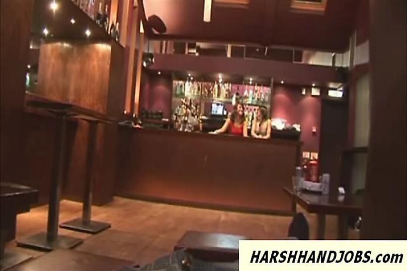 HARSH HANDJOBS - 2 hot bar girls give a cfnm handjob to customer