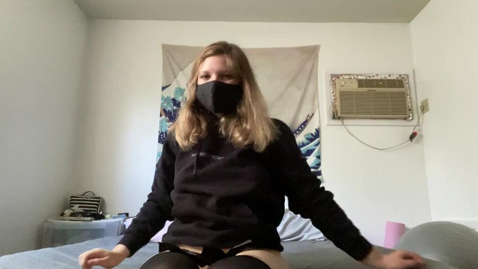 big tiddy goth girlfriend plays with a rabbit vibrator