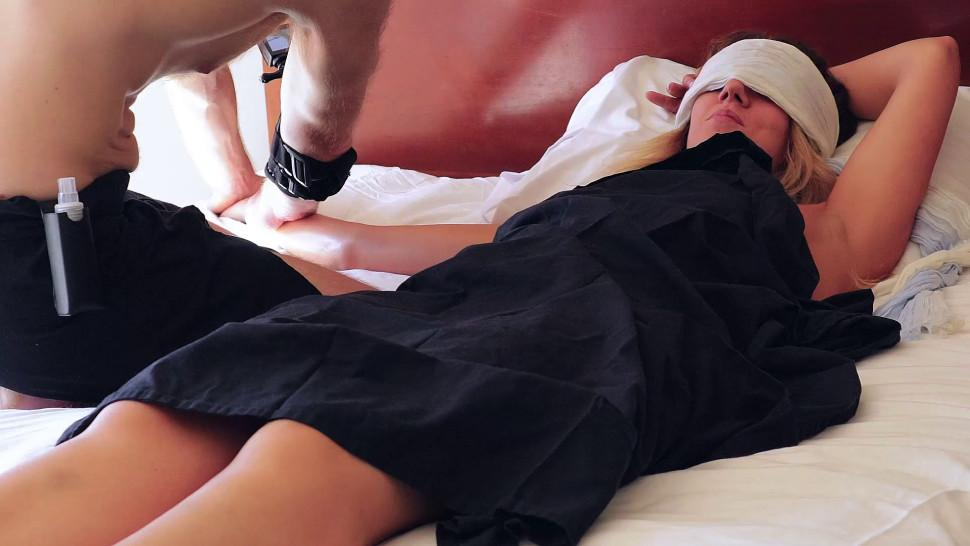 UNPAID girl flew NY Vegas for THIS Squirting yoni massage real  wet Firsttime amateur  HunkHands