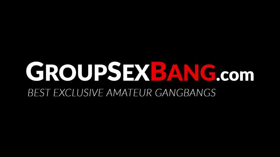 GROUPSEX BANG - Gang banged German hottie screwed while sucking dick