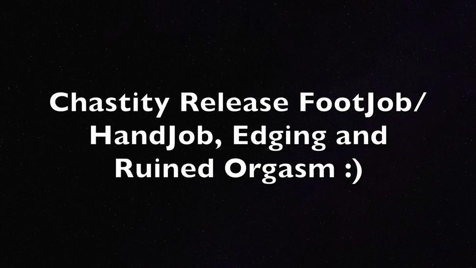 Footjob, Handjob, Edging and Ruined Orgasm Chastity Release :)