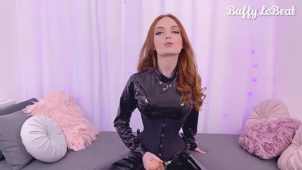 PVC clad Mistress Buffy LeBrat trains you to suck her strapon POV style until it cums in your mouth