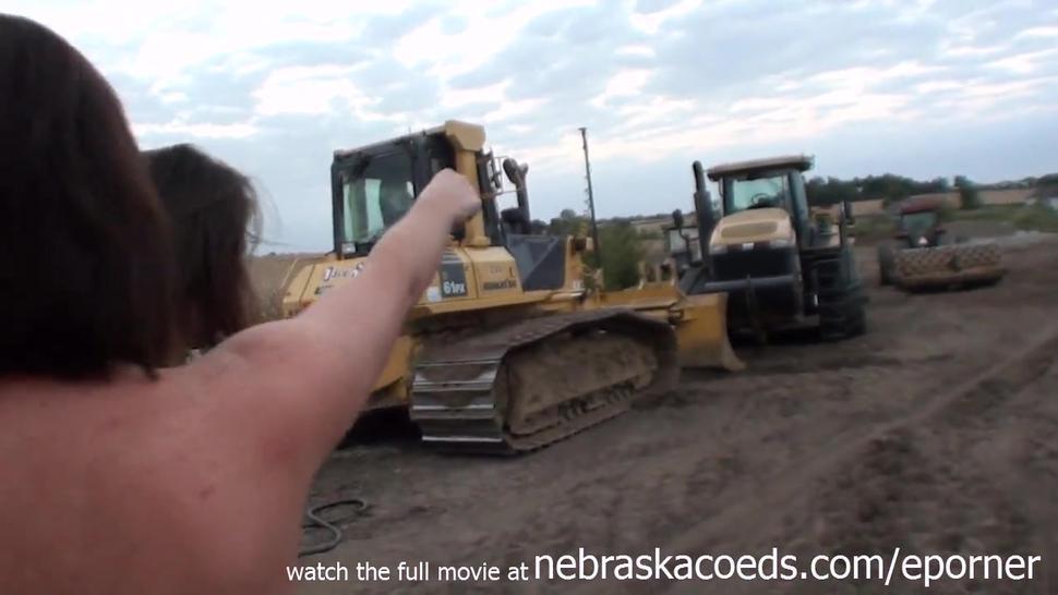 Incredible Teens Nude On Neighborhood Construction Equipment