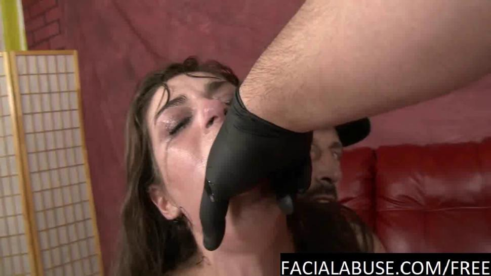 FACE FUCKING - Sweet little brunette gags and pukes