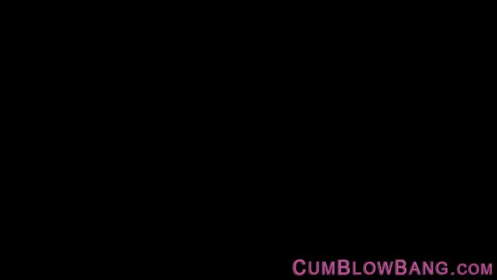 Stockinged slut with big tits blows bbc
