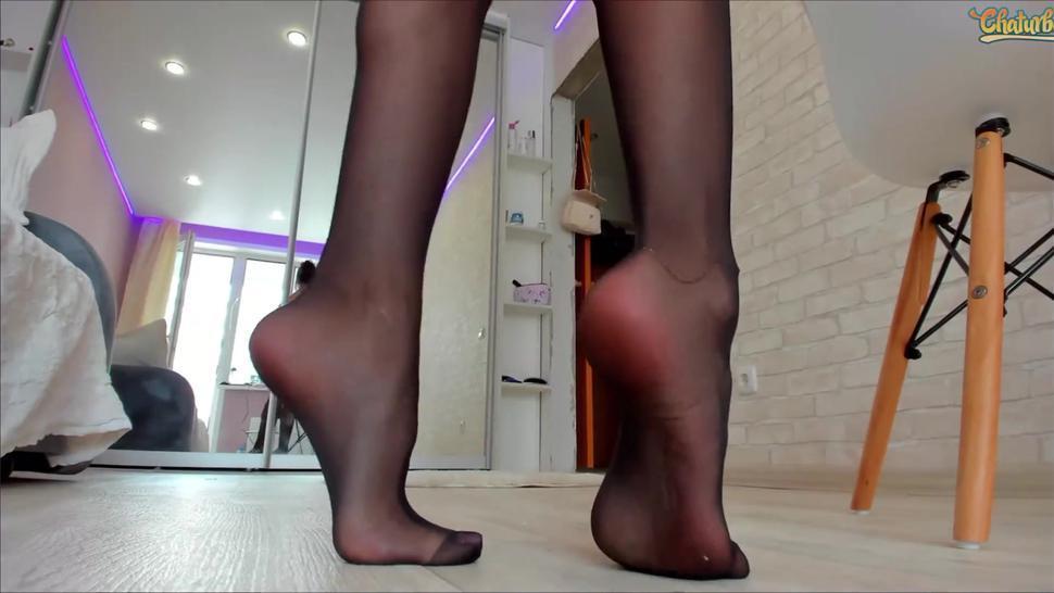 chaturbate camgirl feet & legs show - stockings - feet pov - pink toenails - creamy feet - ass pov