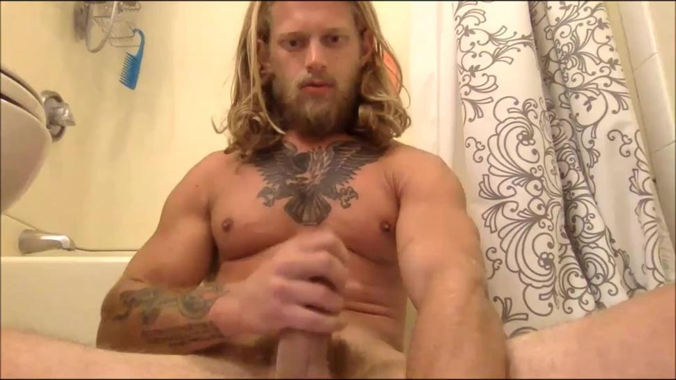 Bodybuilder long blond hair big uncut cock huge cum load