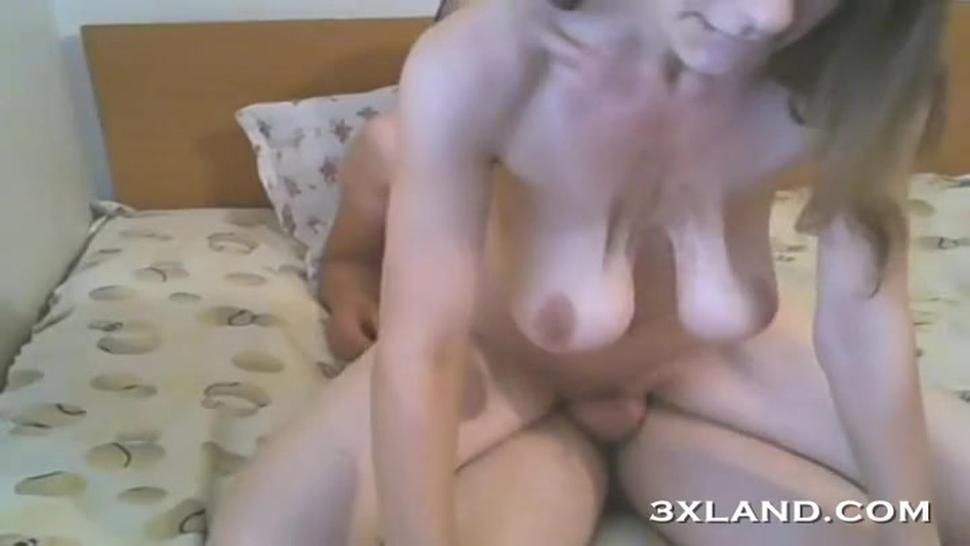 Blue eyes and saggy big boobs fucking