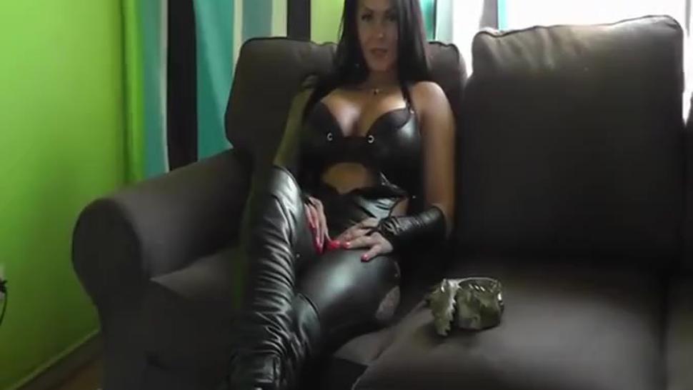 Gorgeous German brunette Milf smoking sexy in black leather