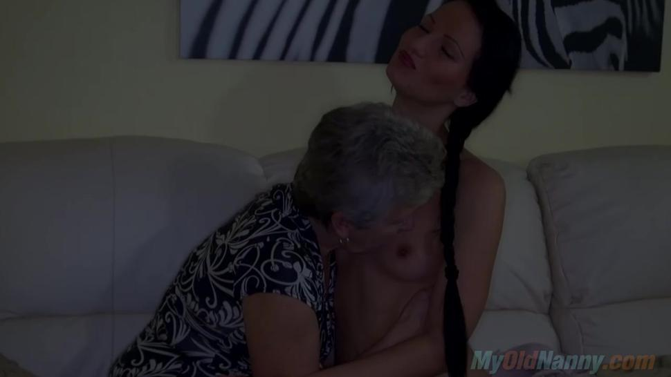 Lesbian grandma devouring pussy and ass