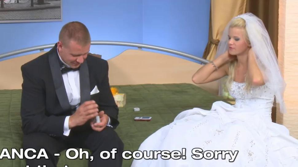 Licking/elegant wedding dress pussylicked bride