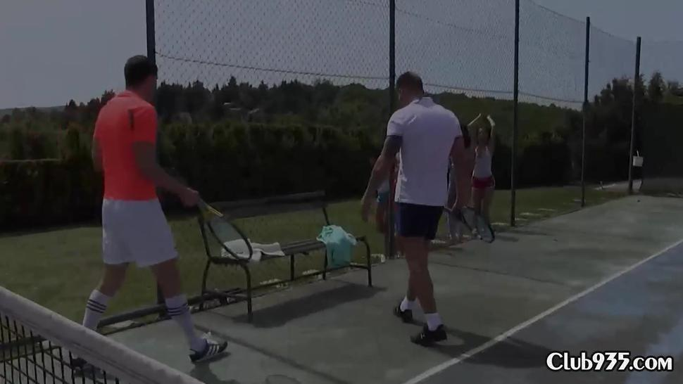 Two tennis players fuck a bunch of teen chicks
