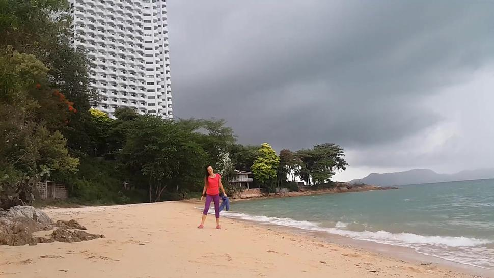 NAKED on Public Beach # Public EXHIBITIONISM before Storm