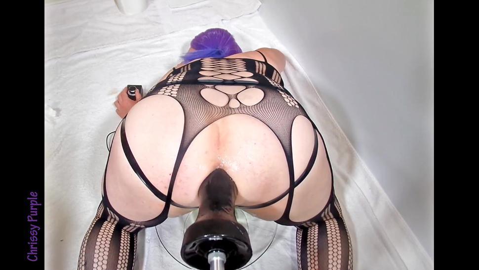 Chrissy Purple 165 Fucking machine with huge fist shaped dildo