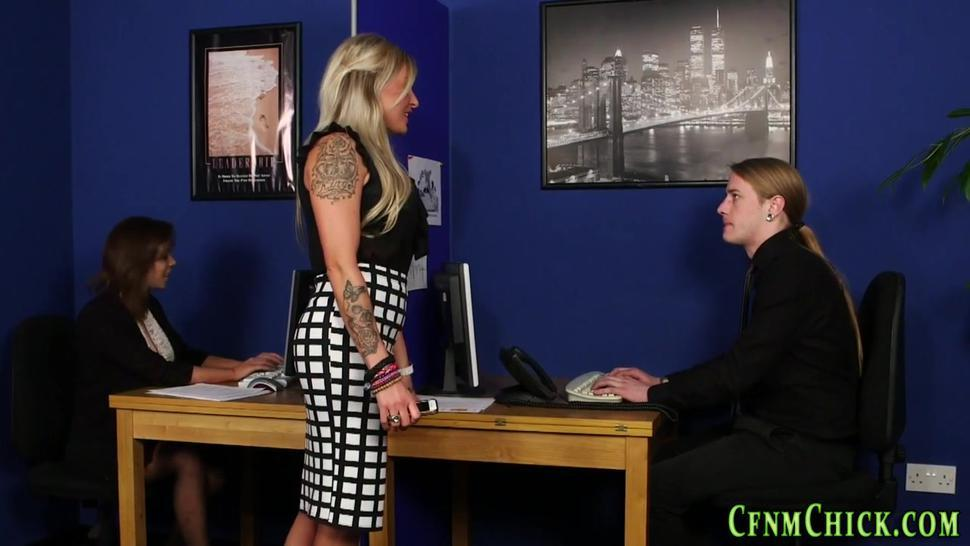Clothed office brit sucks and tugs colleague